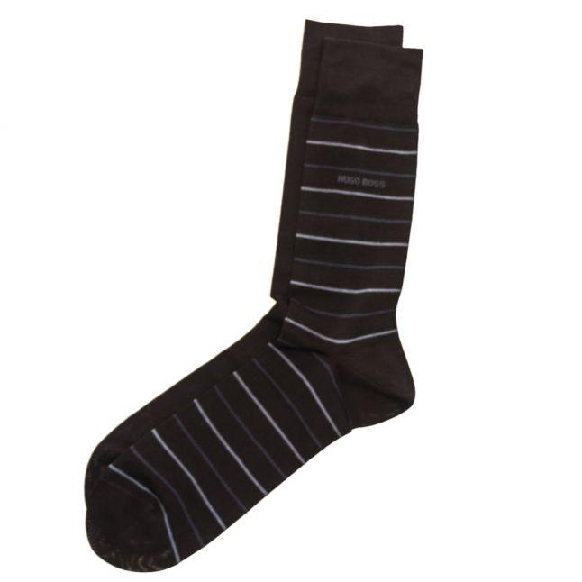 Mens Dark Blue Twopack Fine Stripe Socks (5-11)
