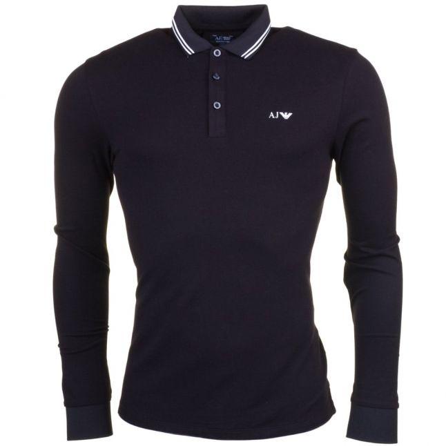 Mens Black Tipped Slim Fit L/s Polo Shirt