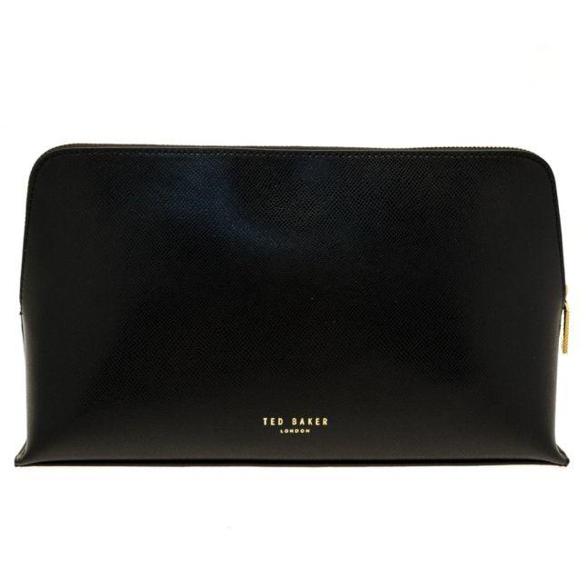 Womens Black Lynner Large Leather Wash Bag