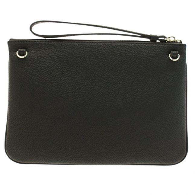 Womens Black Branded Clutch Bag