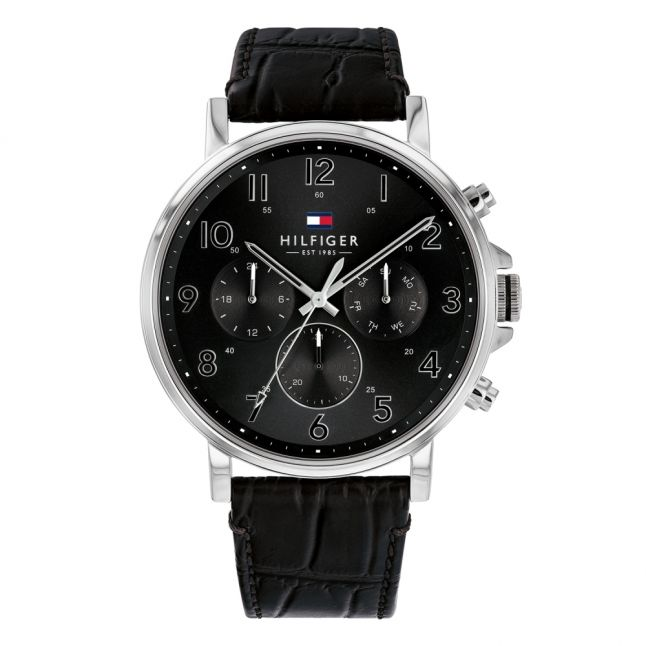 Mens Silver/Black Leather Watch