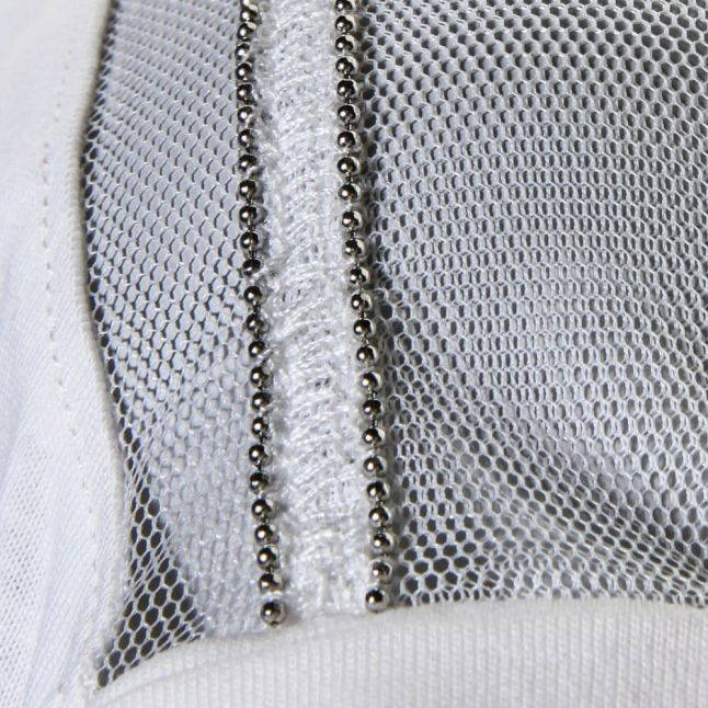 Womens White Mesh Detail S/s Tee Shirt