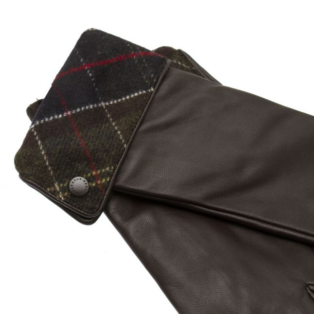 Womens Choc/Tartan Lady Jane Leather Gloves