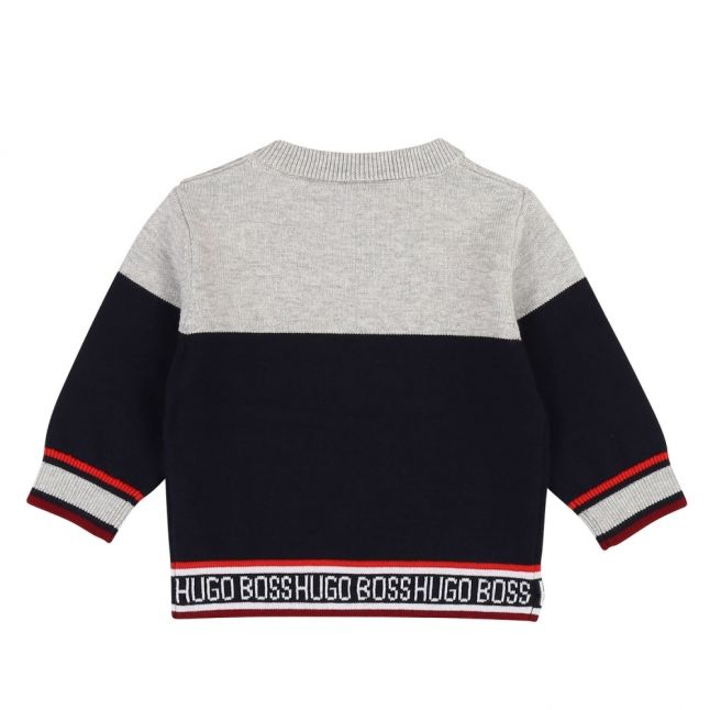 Toddler Grey Blue/Navy Colourblock Branded Crew Knitted Top