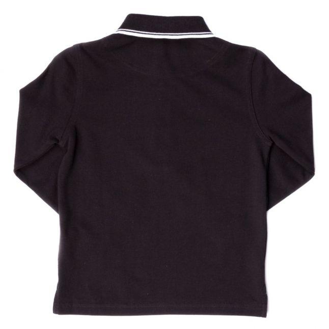 Boys Black Small Logo Tipped L/s Polo Shirt