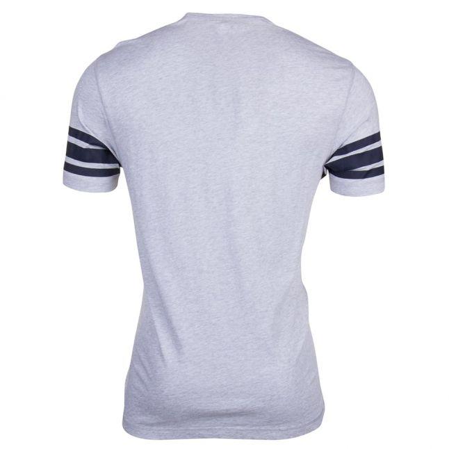 Mens Light Grey Melange Stripe Sleeve S/s Tee Shirt