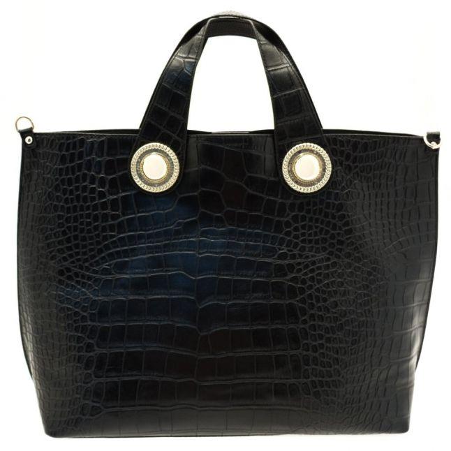 Womens Black Croc Effect Tote Bag & Purse