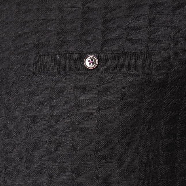 Mens Black Sallsa Jacquard S/s Polo Shirt