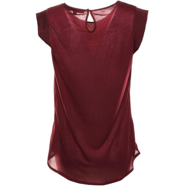 Womens Biker Berry Polly Plains Capped Sleeve Top
