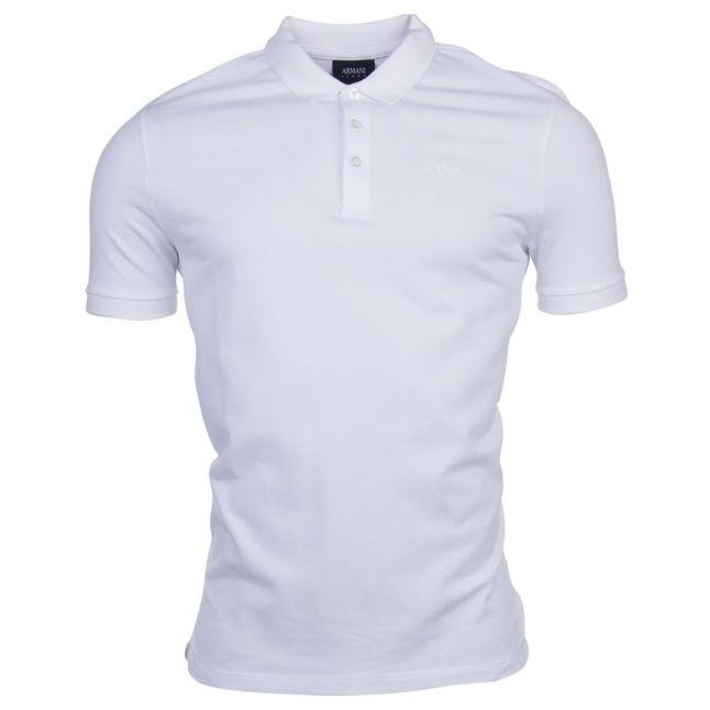 Mens White Chest Logo Regular Fit S/s Polo Shirt