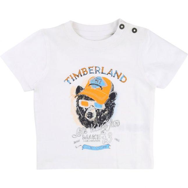 Boys White Bear Print S/s Tee Shirt