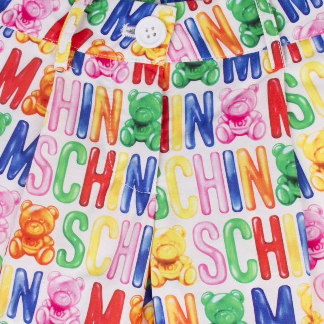 Girls Multicoloured Logo Printed Shorts