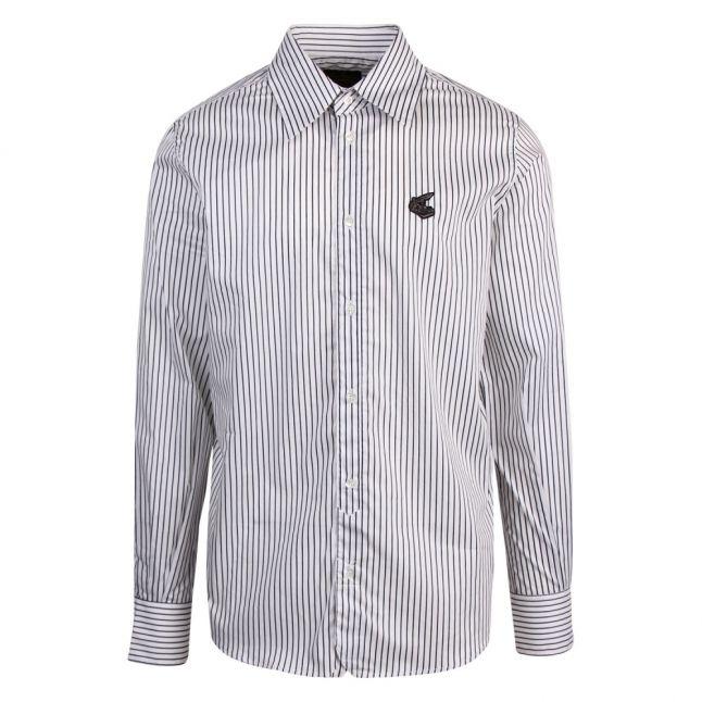 Anglomania Mens White/Navy New Lars Stripe L/s Shirt