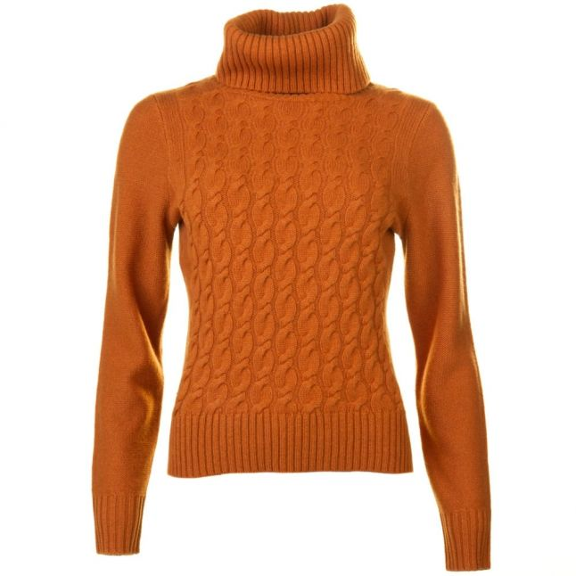 Boss Orange Womens Light Brown Imoji Cable Knitted Jumper