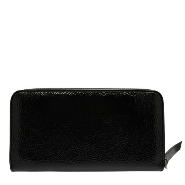 Womens Black Branded High Shine Zip Around Purse