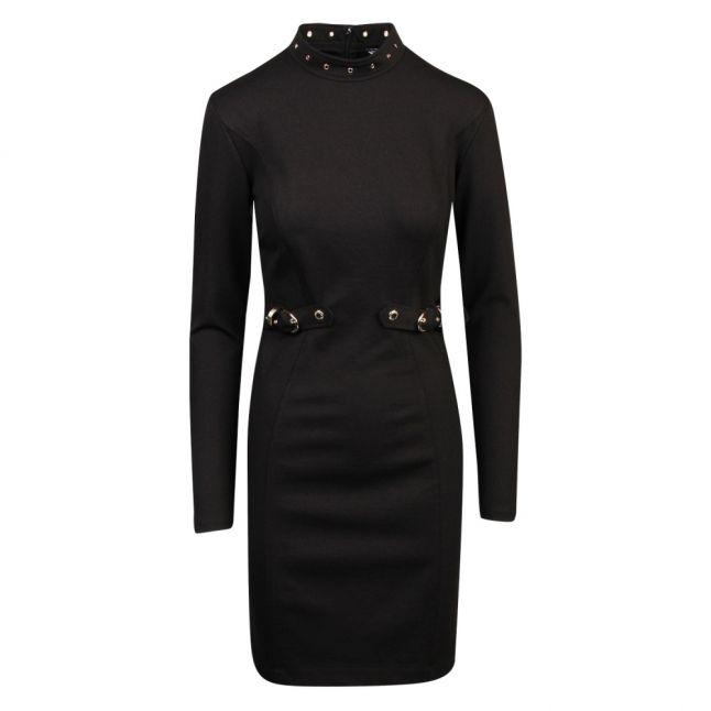Womens Black Buckle Waist Bodycon Dress