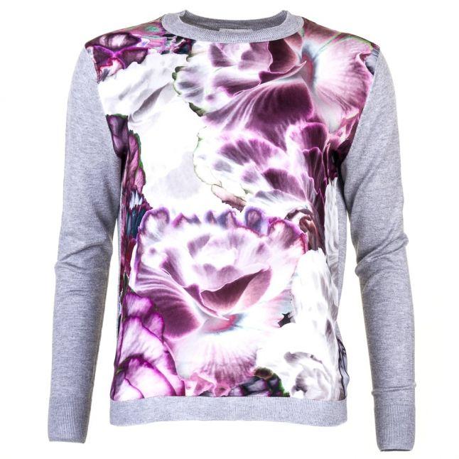 Womens Mid Grey Neaka Illuminated Bloom Knitted Jumper