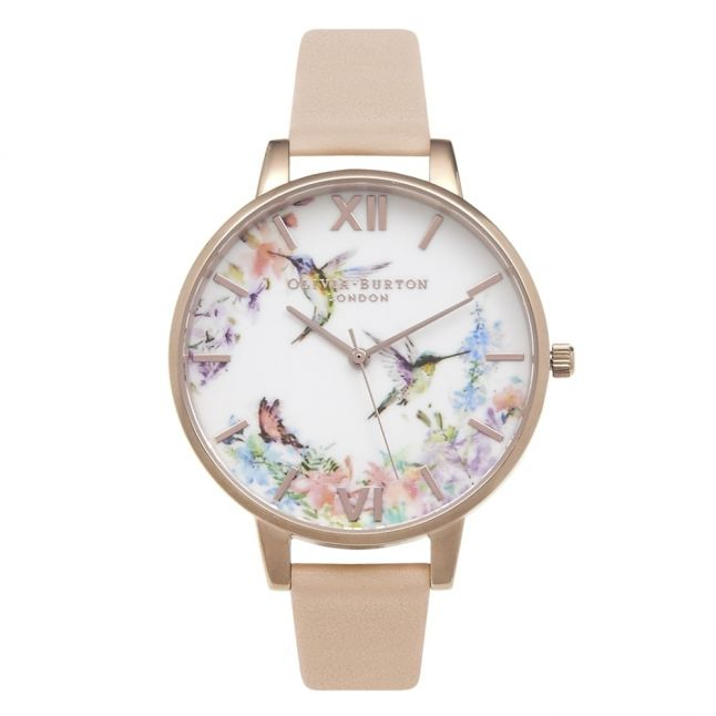 Womens Nude Peach & Rose Gold Animal Motif Hummingbird Watch