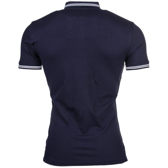 Mens Navy Tipped Slim Fit S/s Polo Shirt