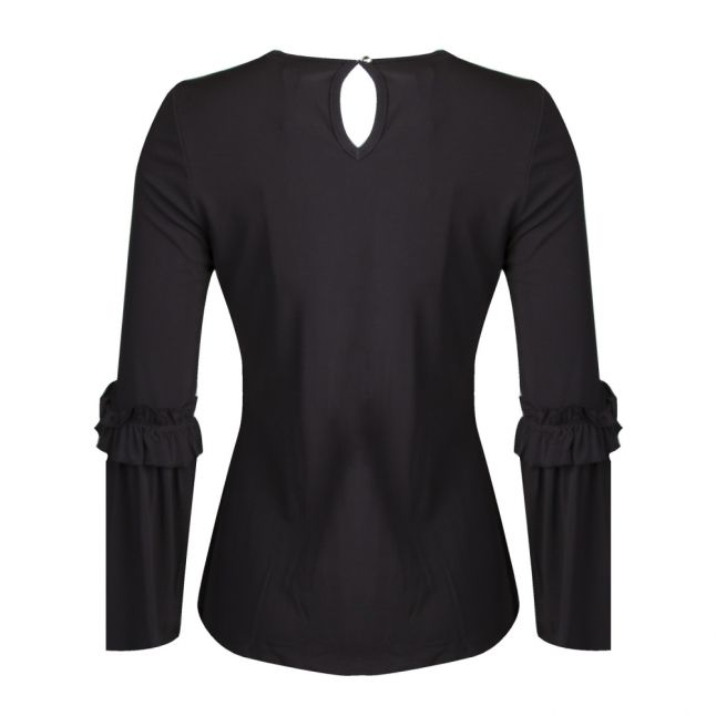 Womens Black Flare Cuff Top