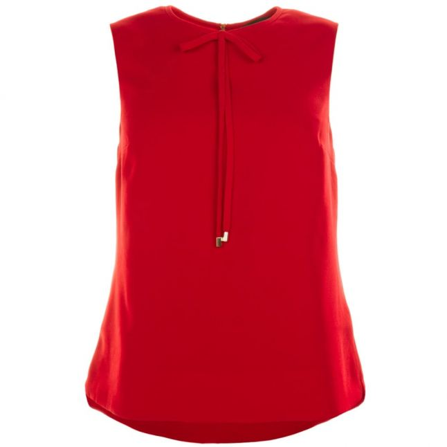 Womens Bright Red Natalle Crepe Sleeveless Bow Top