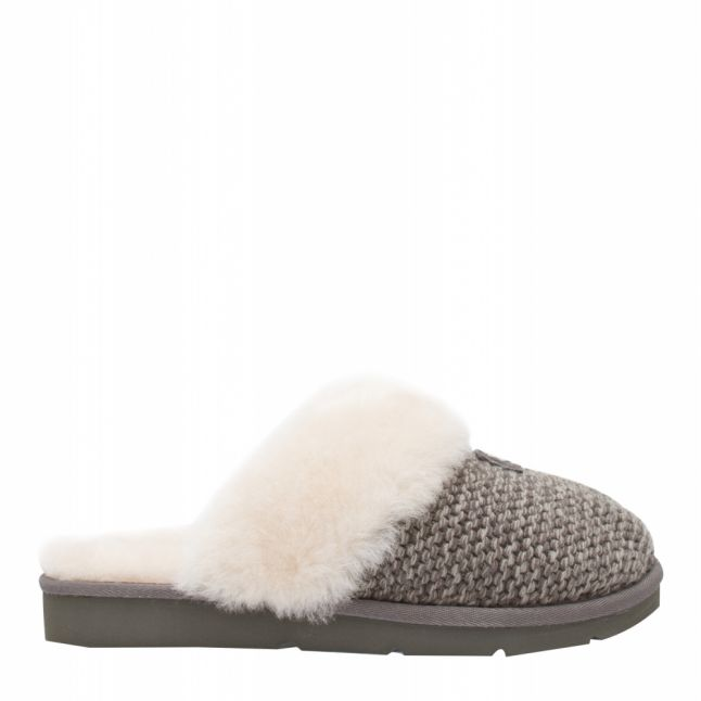 Womens Charcoal Cozy Knitted Slippers