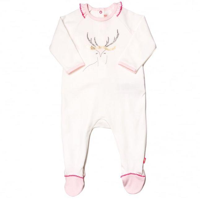 Baby White Deer Frill Babygrow