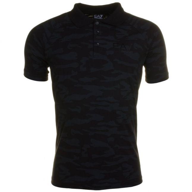 Mens Black Training Camo S/s Polo Shirt