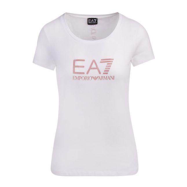 Womens White/Rose Gold Branded S/s T Shirt