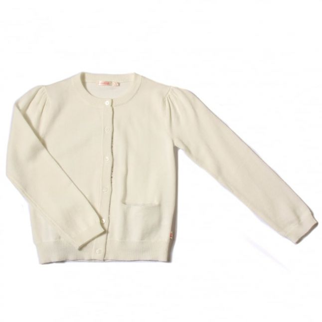 Girls White Knitted Sequin Trim Cardigan
