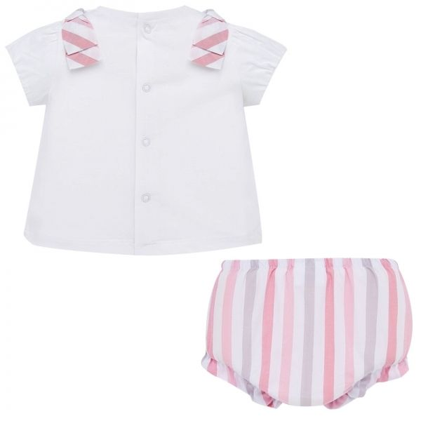 Baby White/Rose Heart Top & Bloomer Set