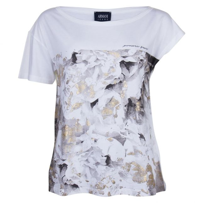 Womens White Graphic Floral S/s Tee Shirt