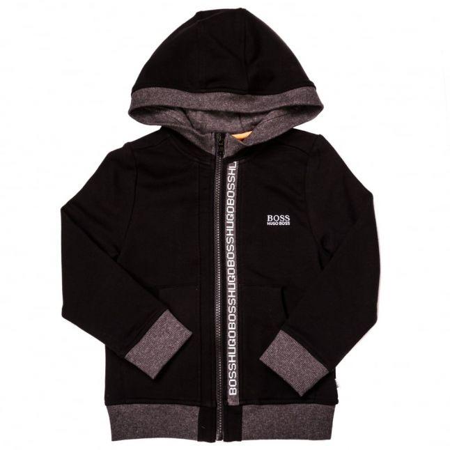 Boys Black Branded Trim Hooded Zip Sweat Top
