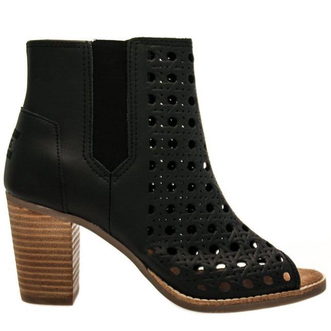 Womens Black Leather Basket-Weave Majorca Boots