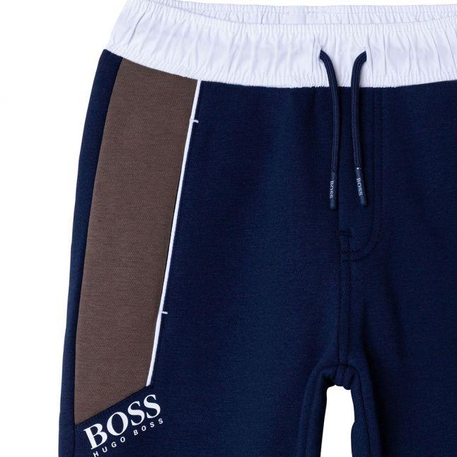 Boys Navy Colourblock Sweat Pants