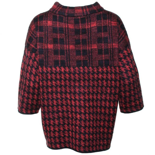 Womens Black & Riot Red Dogstooth Check Knits Jumper