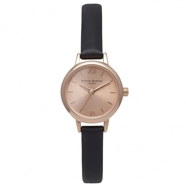 Womens Black & Rose Gold Mini Dial Watch