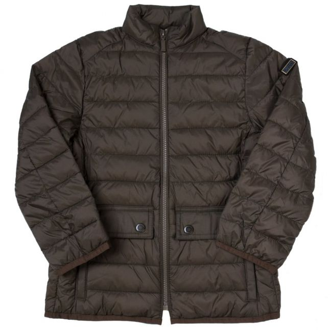 Boys Olive Crossover Quilted Jacket