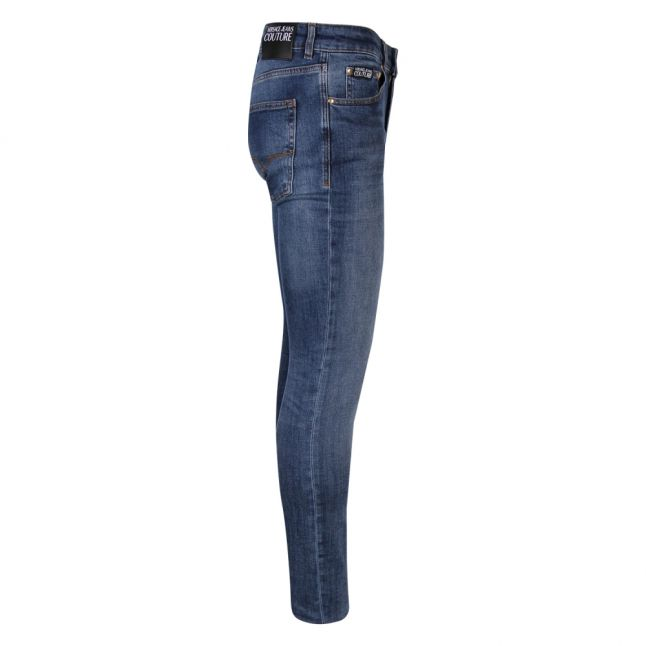 Mens Indigo Branded Skinny Fit Jeans
