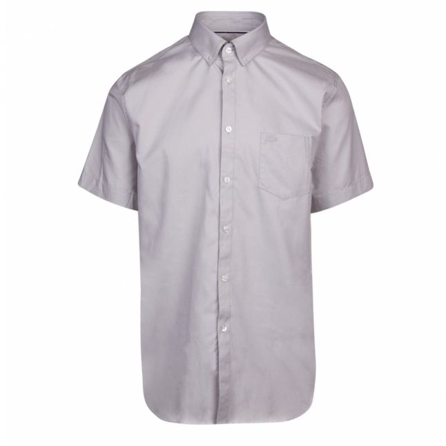 Mens Pale Grey Stretch Poplin Regular Fit S/s Shirt