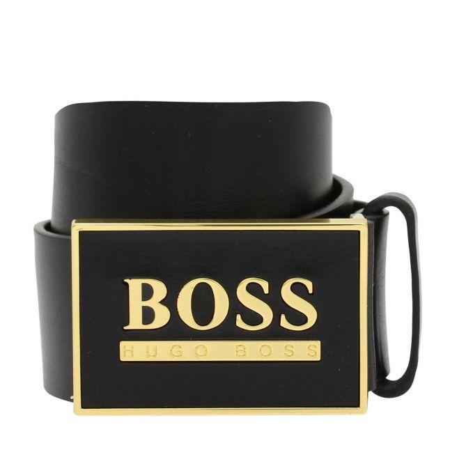 Mens Black/Gold Icon Plaque Belt