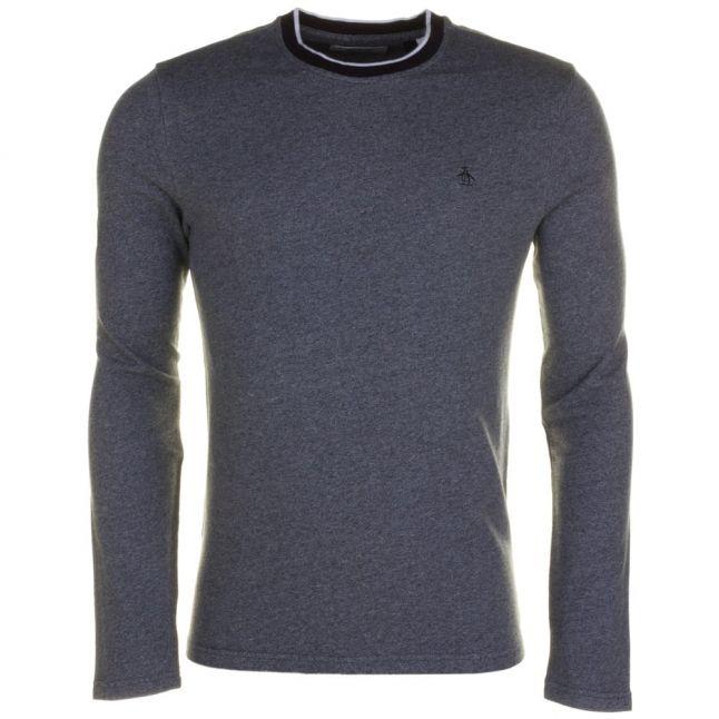 Mens True Black Jaspe L/s Tee Shirt
