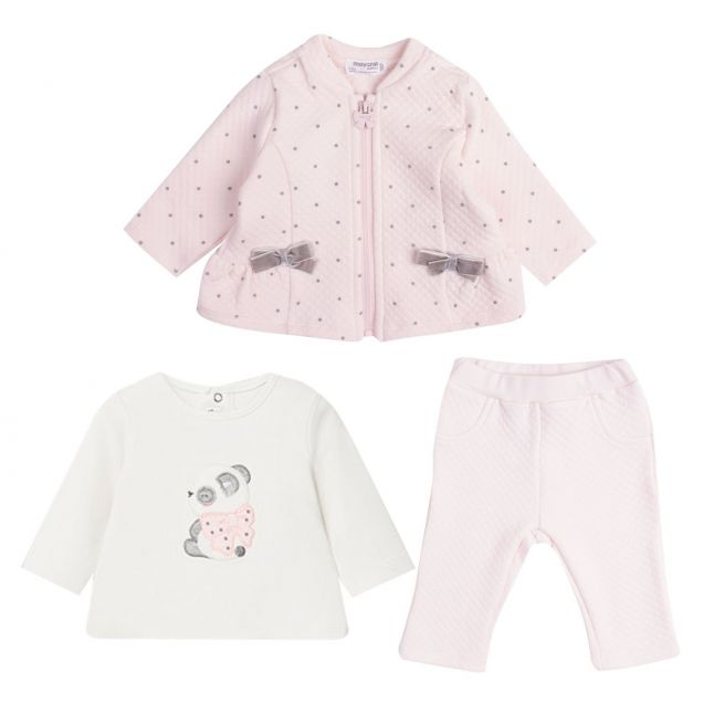 Baby Rose Bow Quilted 3 Piece Tracksuit