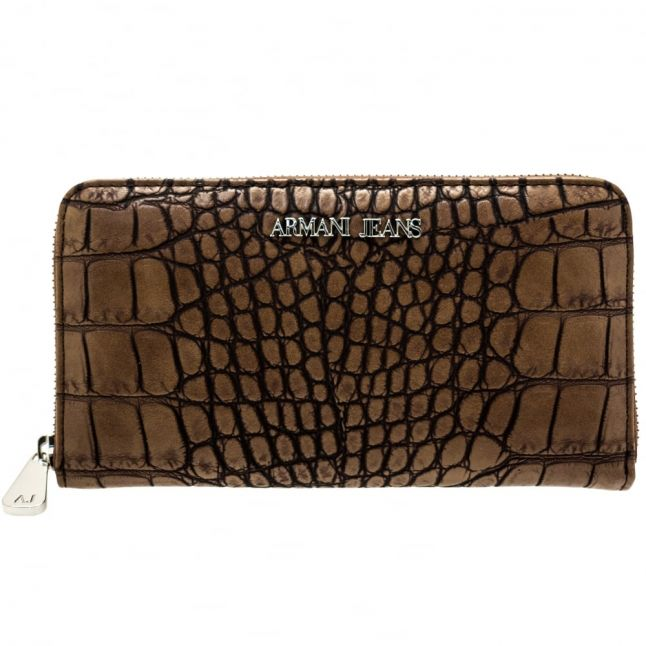 Womens Brown Croc Effect Purse