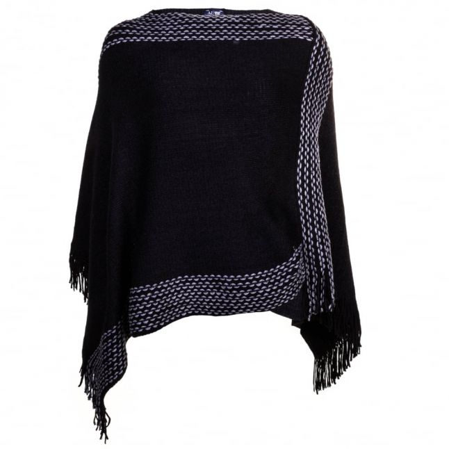Womens Black Fringed Knitted Cape