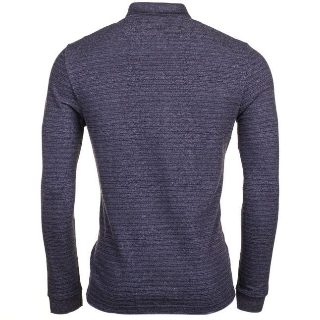 Mens Dark Grey & Navy Fine Stripe L/s Polo Shirt