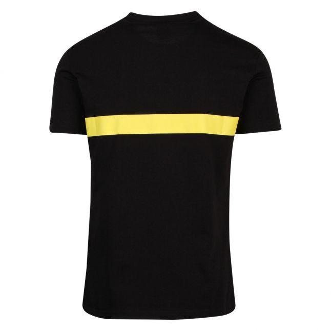 Mens Black/Yellow Logo Stripe Slim Fit Beach S/s T Shirt