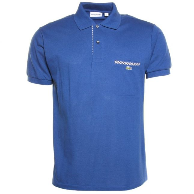 Mens Blue Pocket Trim Regular Fit S/s Polo Shirt