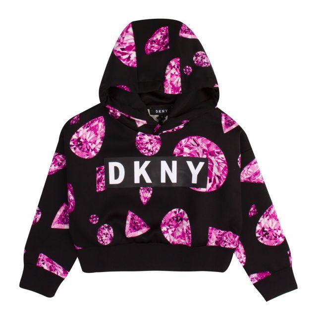 Girls Black/Pink Jewel Print Cropped Hooded Sweat Top