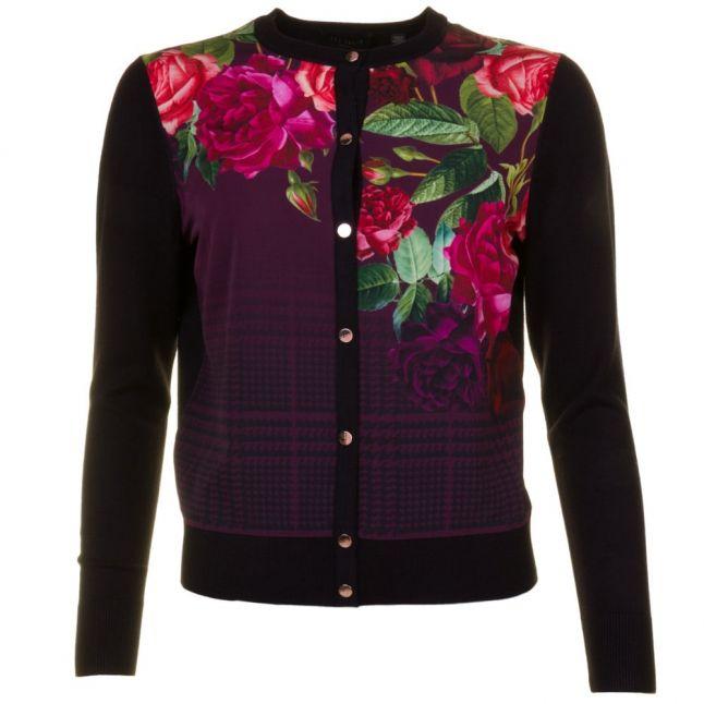Womens Black Teeah Juxtapose Rose Printed Cardigan
